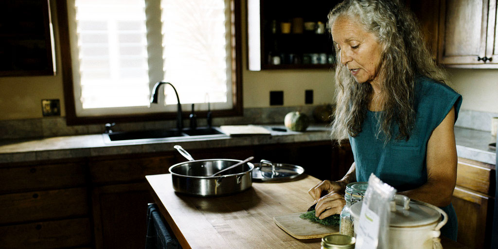 Myra Lewin making an Ayurvedic meal