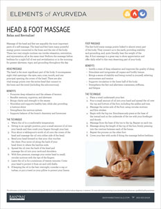 Elements of Ayurveda: Head and Foot Massage