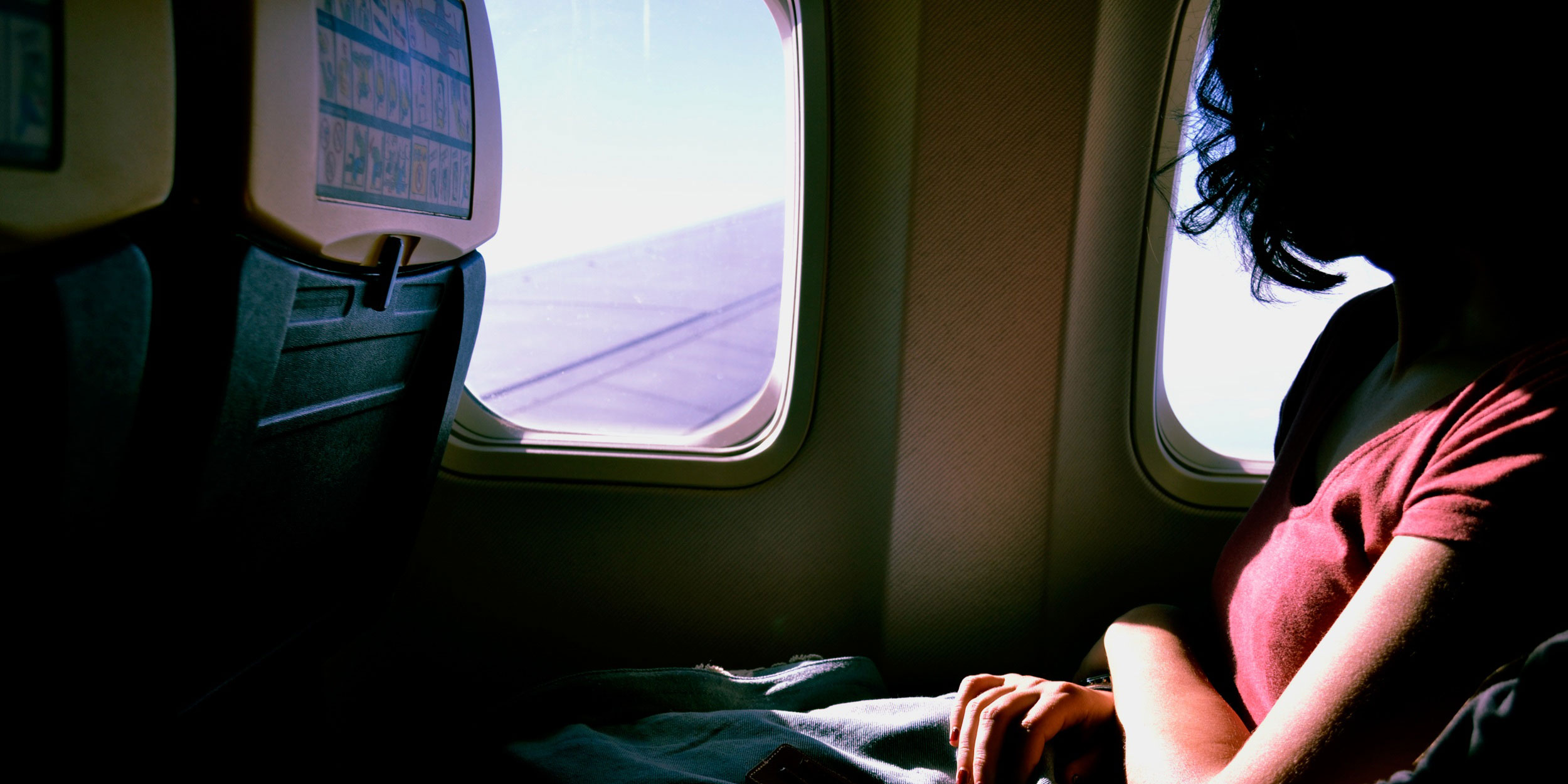 Traveling in an airplane
