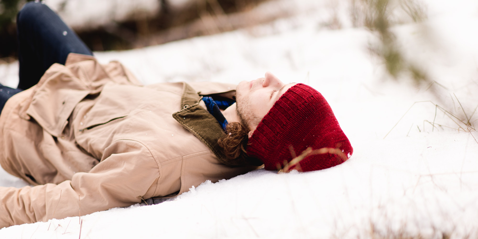 Banyan friend, Collin, lying in the snow