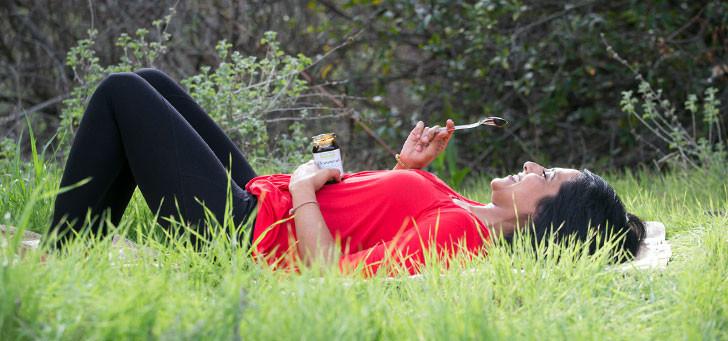 woman enjoying chyawanprash