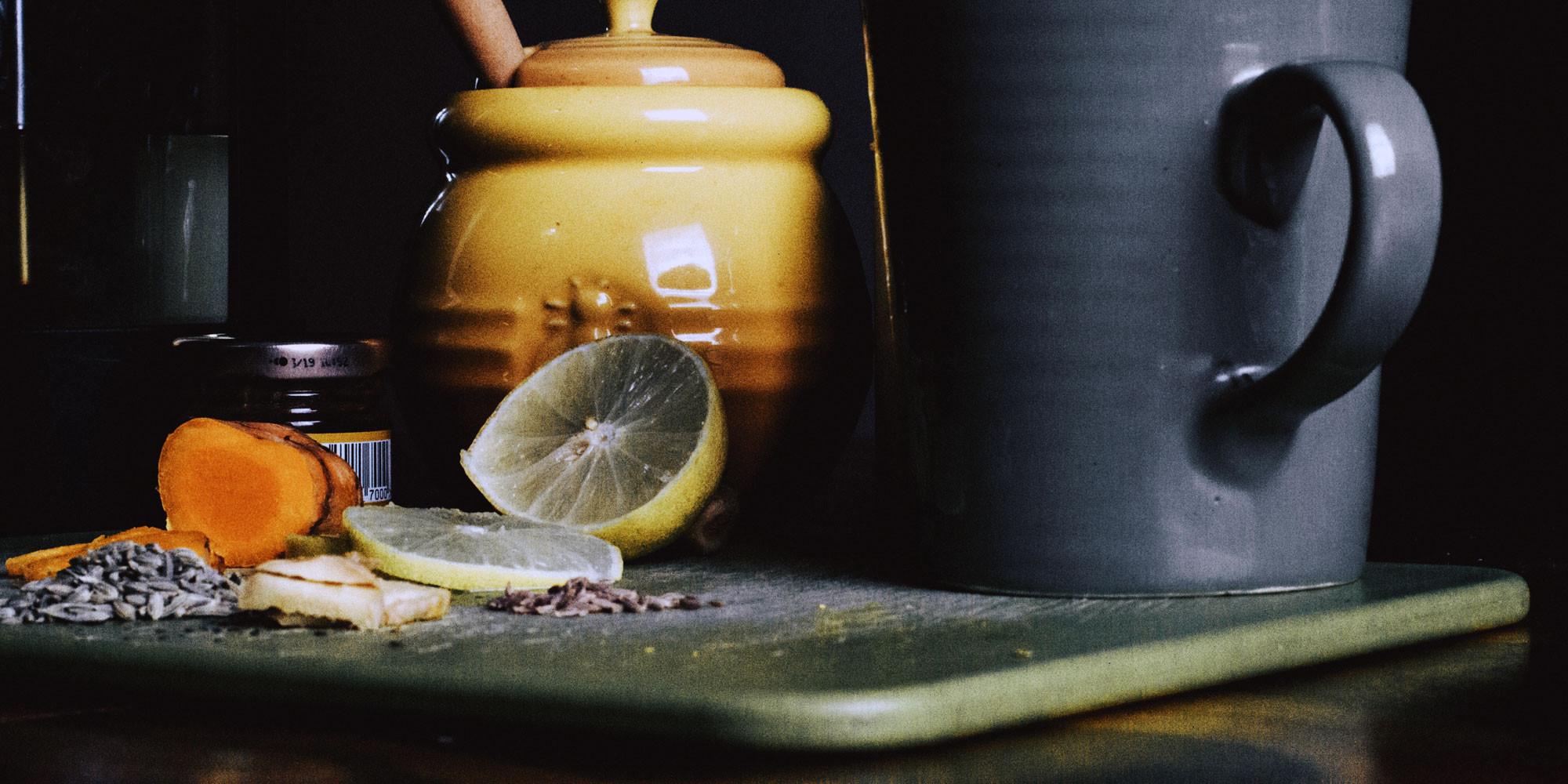 lemon, honey, turmeric