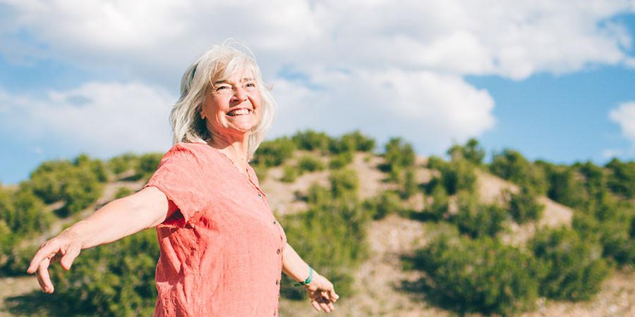 Banyan friend Mari recharging on one of her frequent walks in Albuquerque