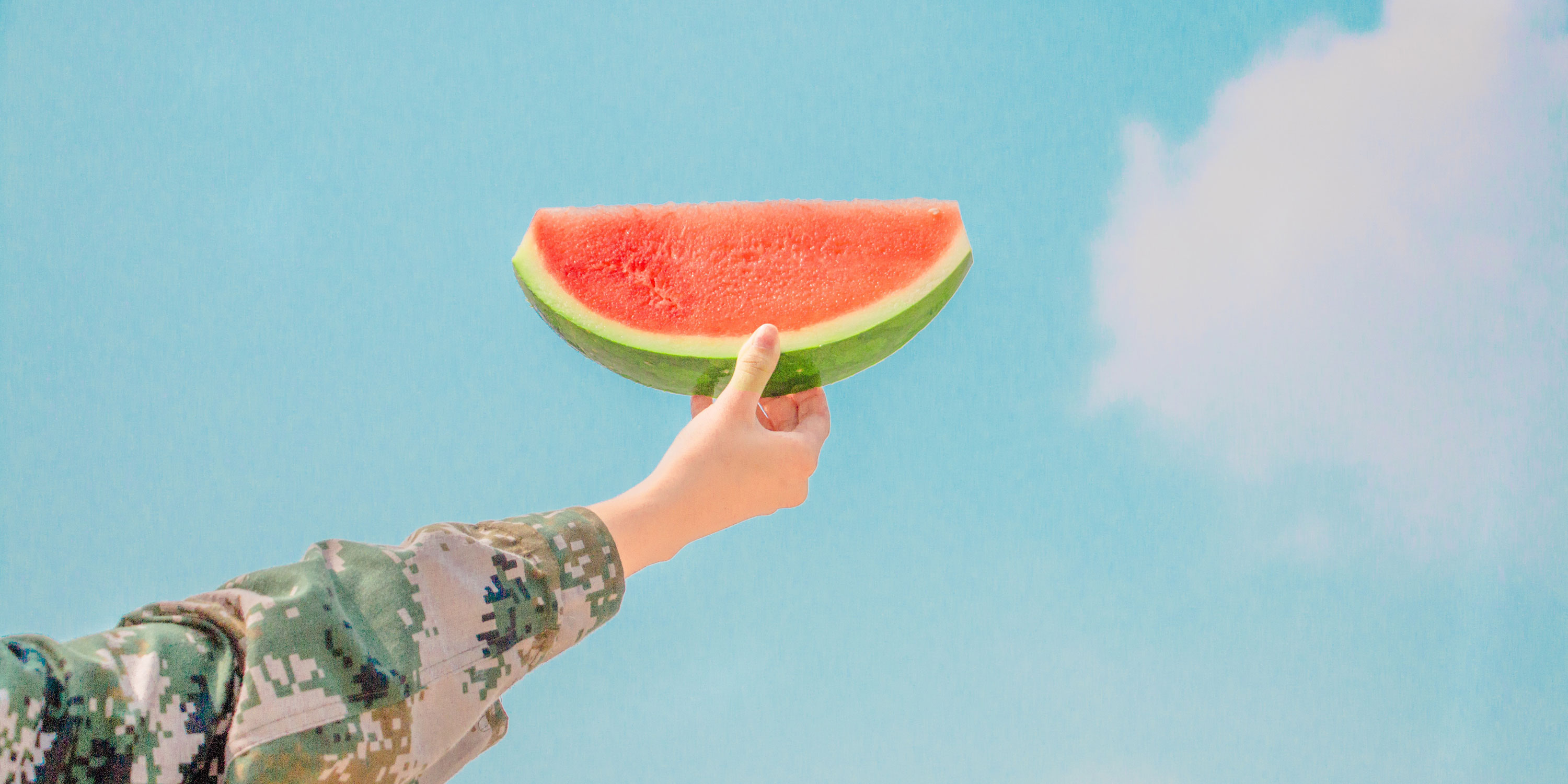 holding watermelon slice to the sky