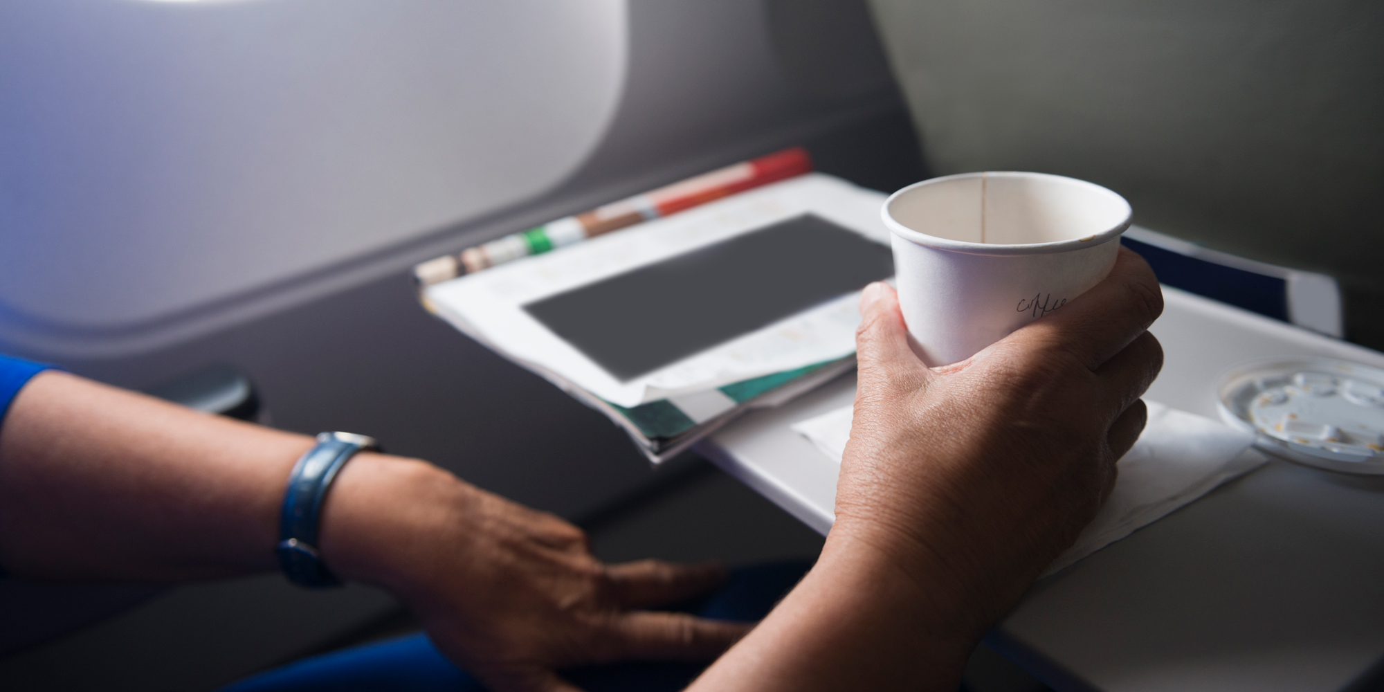 airplane tray with coffee