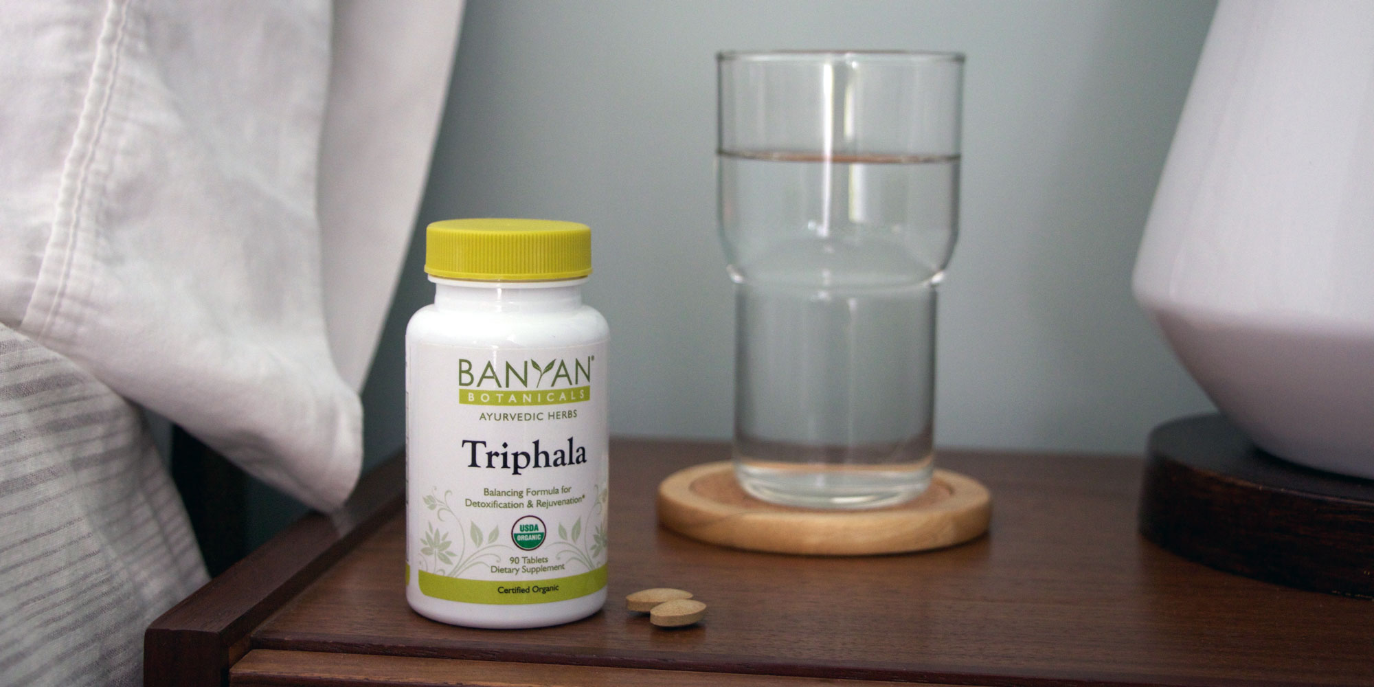 Triphala on the bedside table