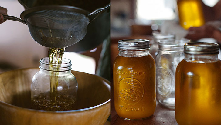 homemade ghee process and ghee in jars