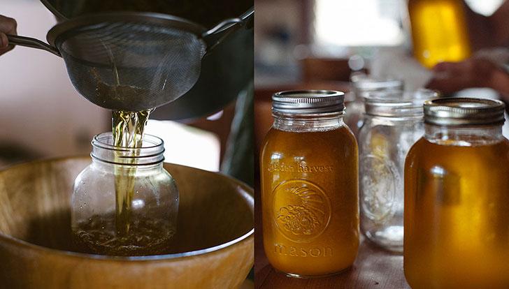 homemade ghee process and ghee in jars