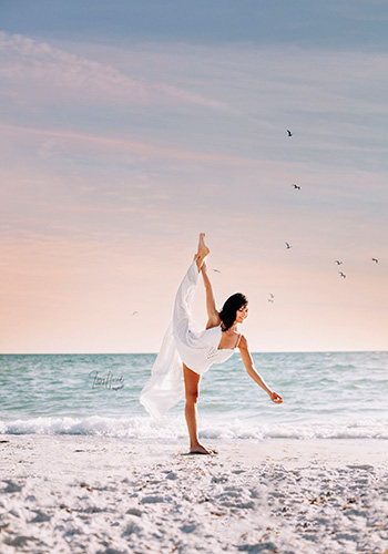 Kristen Riordan on a beach