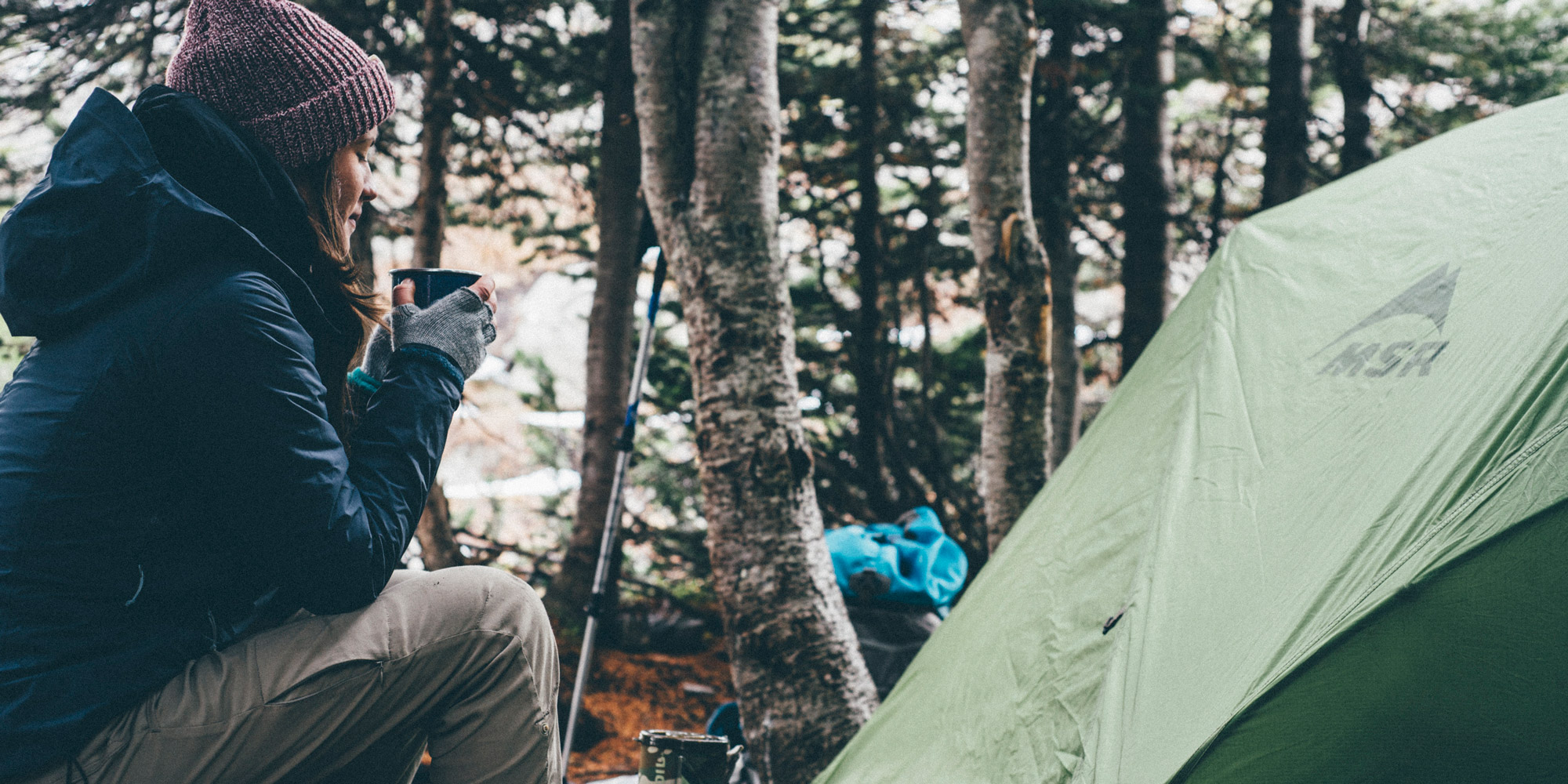 camping with a tent