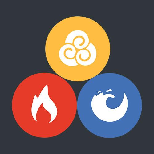 Banyan vata, pitta, and kapha icons