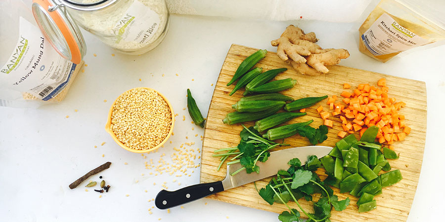 everything you need for kitchari with okra fries