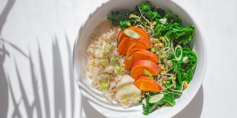 Hearty grains sauté bowl with sprouts
