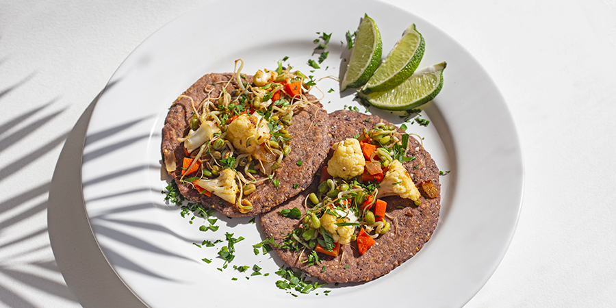 Zesty veggie tacos with sprouts