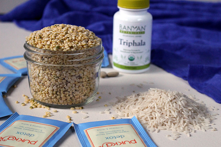 triphala, mung dal, basmati rice, detox tea