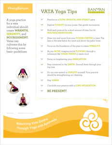 Vata Yoga Tip Sheet