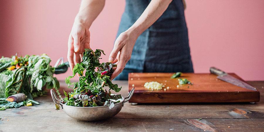 leafy greens for vegan kitchari