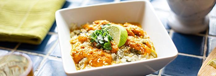 Instant Pot Kitchari with Seaweed & Tamarind-Carrot Sauce